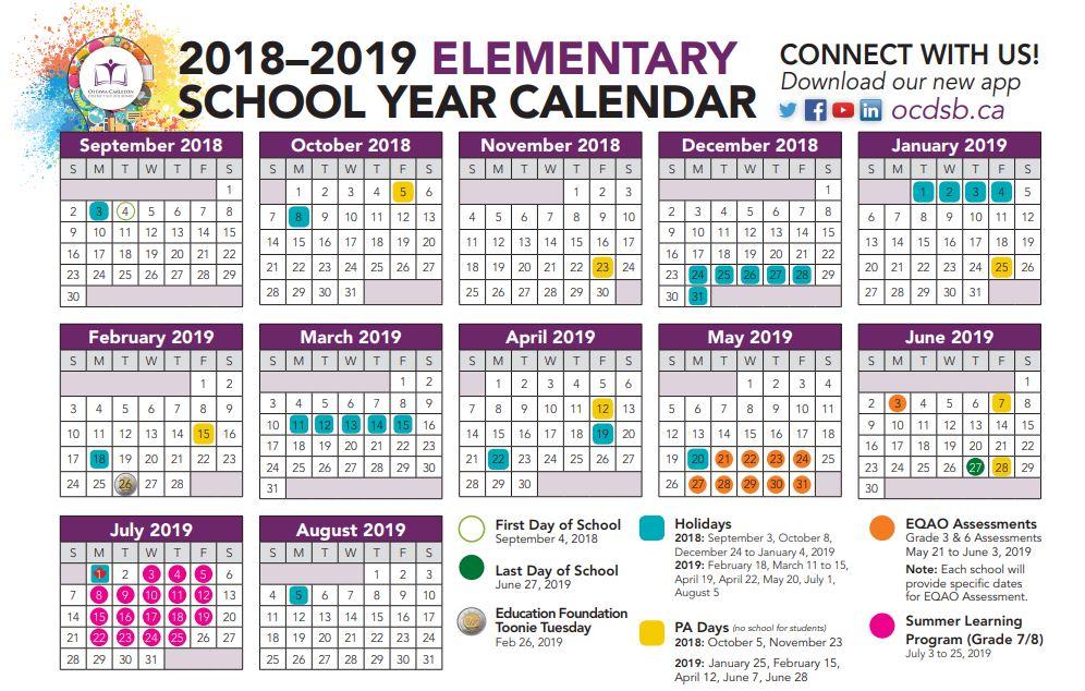 OCDSB 2018/2019 Calendar